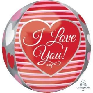 立體圓球: 愛心條紋